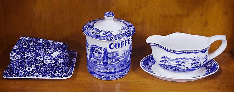 Spode jar & cheese dish together with a blue &