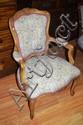 Carved boudoir arm chair 64cm wide, 89cm high