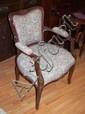 Carved boudoir arm chair 62cm wide, 84cm high