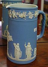 Large antique Wedgwood pale blue jasper jug