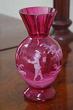 Antique Mary Gregory ruby glass vase 16cm high