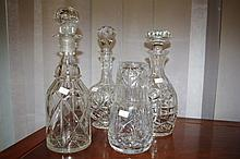 Four various decanters