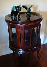 Decorative style round drinks cabinet with tray to