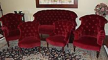 Five piece Victorian parlor suite in button back