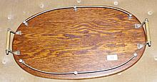 Small art deco oak tray with gallery
