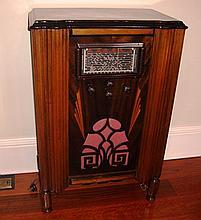 Art deco timber cased valve radio