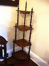 Edwardian four tier whatnot with decorative inlay