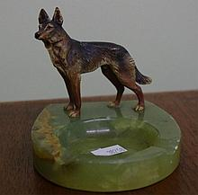 Cold painted bronze figure of a German Shepherd