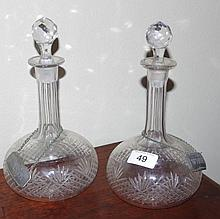 Pair of Edwardian etched decanters with wine