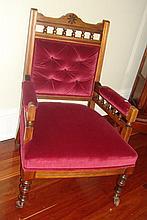 Edwardian open armchair in maroon velvet
