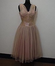 Late 1950s pink tulle evening dress with sequined