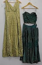 Two vintage evening dresses both in process of