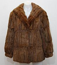 Soft brown fur coat satin lined, with a turned