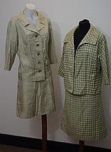 A beige and cream houndstooth check vintage suit