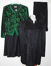 Green and black Escada suit with fabric woven in a