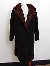 Chocolate brown astrakhan swing coat with large