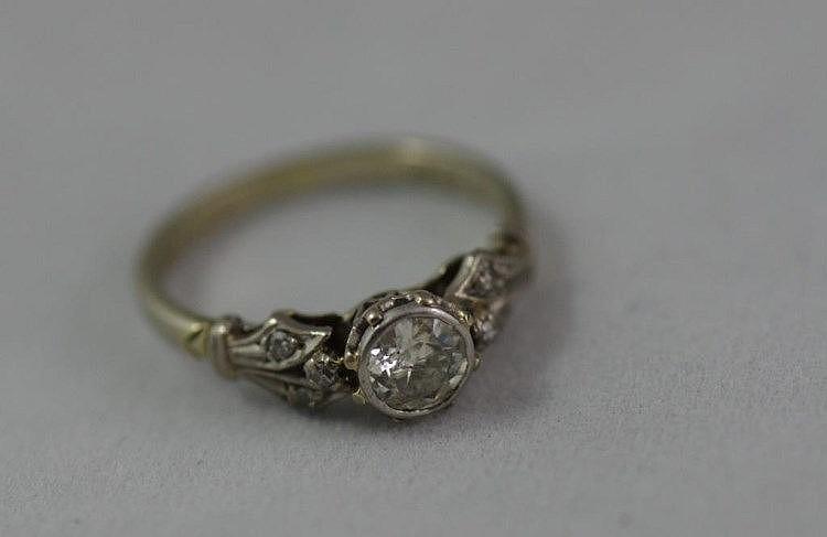 Vintage 18ct White Gold Platinum 7 Diamond Ring Approx 2