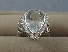 18ct white gold aquamarine & diamond handmade ring