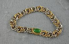 18ct gold and platinum bracelet with a jade and