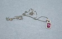 9ct white gold and pink tourmaline pendant on