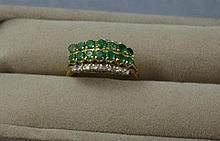 14ct gold, emerald and diamond ring