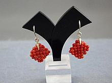 9ct white gold and coral earrings