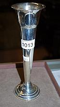 Sterling silver trumpet vase