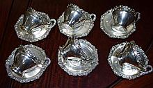 Set of 6 Hungarian silver coffee cups & saucers