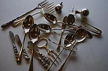 Bag of assorted silver plate serving utensils