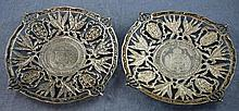 Two silver coin dishes marked 900, 9.5cm diameter