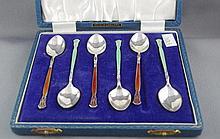 Elizabeth II hallmarked silver & enamel teaspoons
