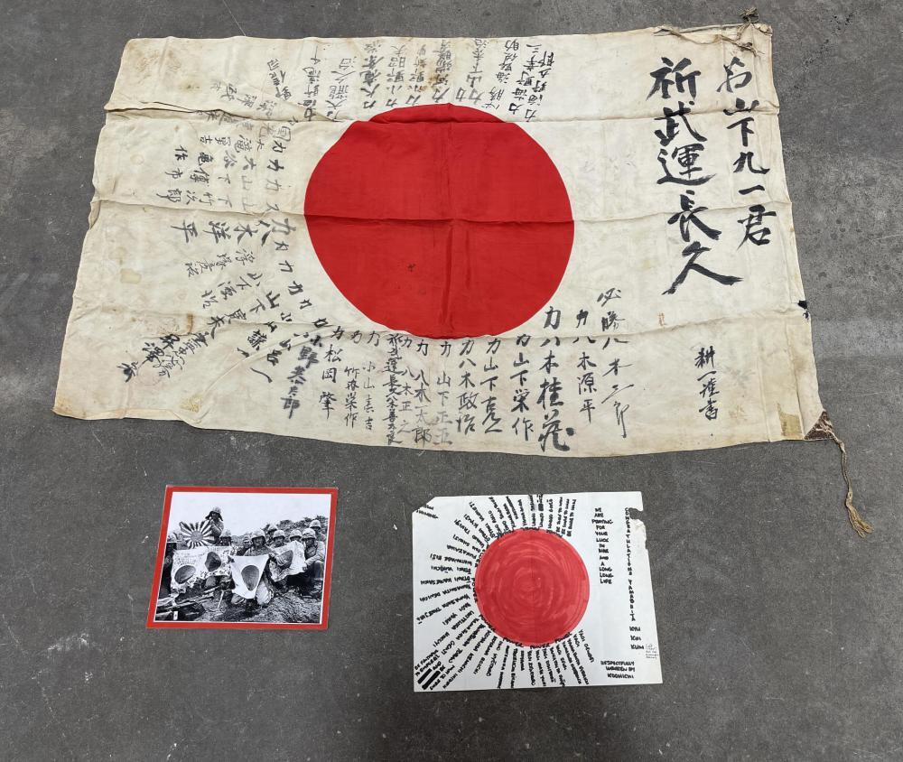 WW2 JAPANESE BATTLE CAPTURED MEATBALL FLAG