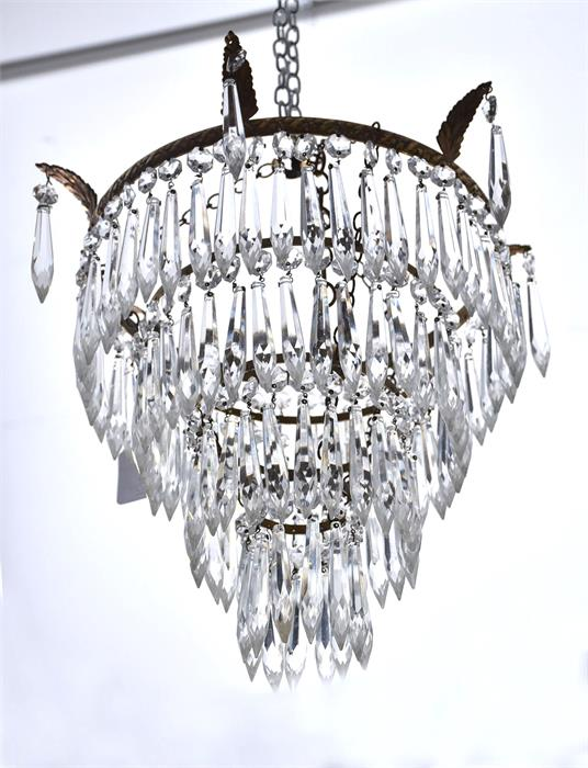 A 20th century three tier bag light with prism cut glass dro for Acanthus decoration