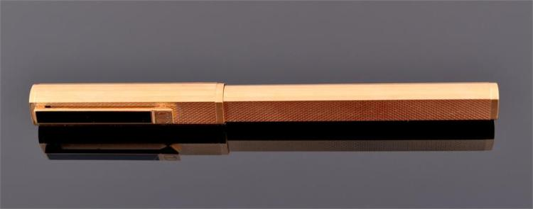 A Dunhill fountain pen electro plated, with engine turned decoration, the gold nib stamped 750,