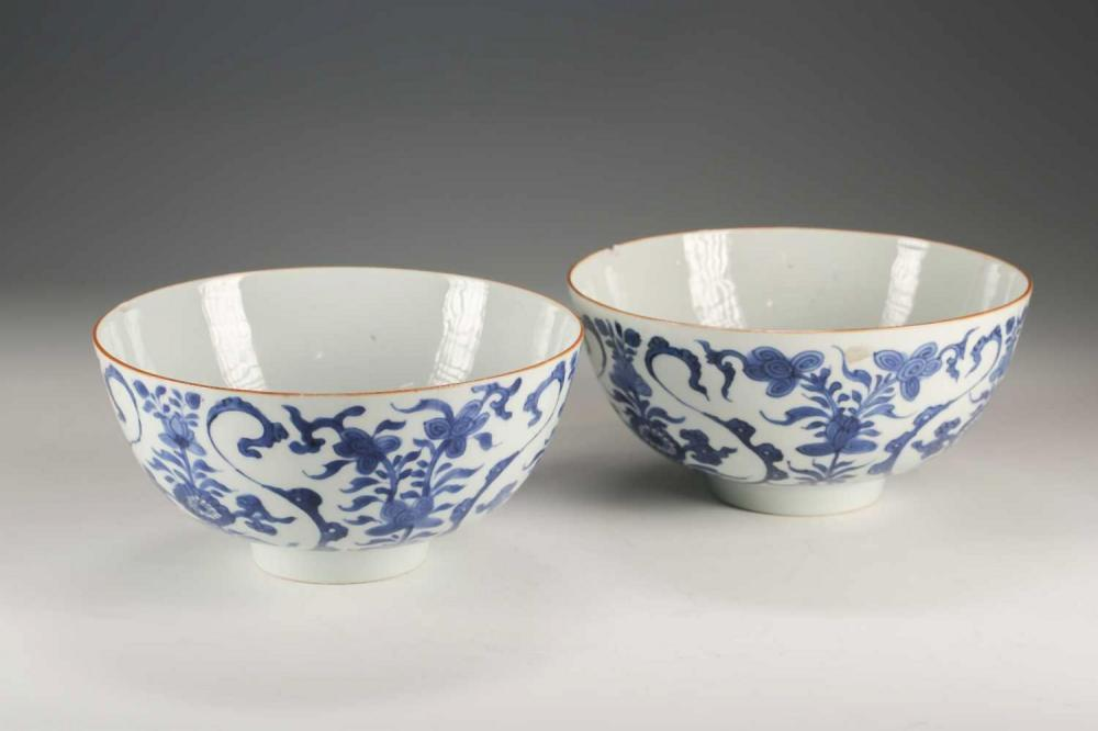 A pair of Chinese blue & white deep sided bowls, Qing, 18th centu