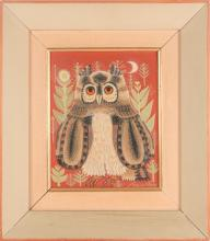 † Sheila Flinn (b.1929) British, a study of an owl, oil on canvas (laid on board), signed to lower right corner, 24.5cm x 19 cm in a painted wooden frame.