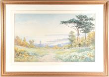 Arthur Suker (1857-1940), a large coastal landscape, watercolour, signed to lower left corner, 53.5 cm x 88 cm framed and glazed.