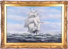 Salvatore Colacicco (b. 1935), In full sail off the coast of Dover, oil on canvas, signed lower left, 49.5 cm x 75 cm in a gilt frame.