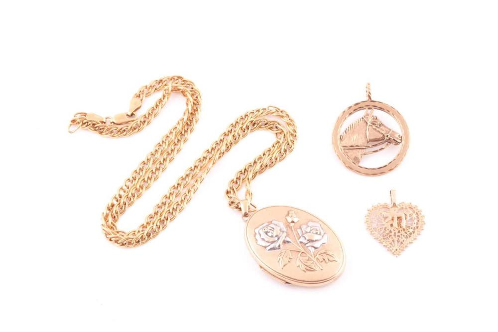 A two colour 9 carat gold oval locket; with applied rose motif; to a fancy double cable link chain; together with a circular horse pendant and a pierced heart-shaped pendant (3) Gross weight 19.77 grams.