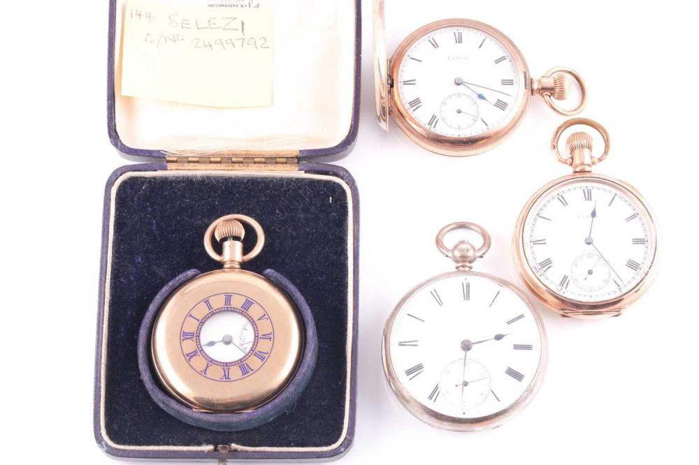 A gold plated Elgin pocket watch, numbered 27927185, enamel dial with Roman numerals and second subsidiary dial, together with another Elgin gold plated pocket watch, plain cased, with white enamel Roman numeral dial, a silver cased pocket watch...