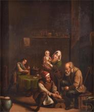 18th century Continental school, 'The Chiropodist', a domestic interior scene of a man having his feet examined, oil on panel, within a giltwood frame. 25 x 21.5cm