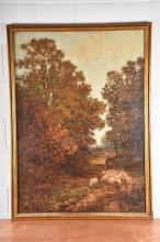 A large framed late 19th century landscape