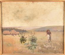 An early 20th century framed rural scene