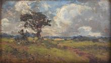 A small framed Impressionist landscape