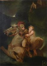 A framed mid 19th century painting of a knight on horseback