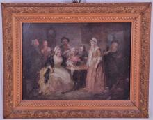 A framed mid 19th century conversation piece