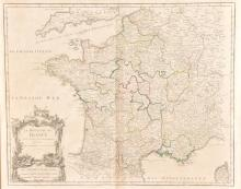 An 18th century copper plate engraving, map of the 'Royaume de France'; the Kingdom of France
