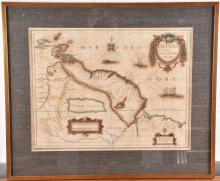 A 17th century hand-coloured engraving entitled 'Map of Guiana'