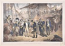 Charles George Lewis (British, 1808-1880). Lord Nelson receiving the Swords of Spanish Officers on board the San Jose