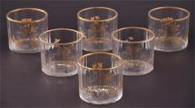 A set of six 19th century glass wine glass rinsers